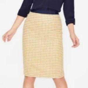 BR Yellow & White Summer Tweed Pencil Skirt size 4